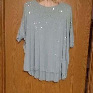 Lovely light blue sequined short sleeve sweater